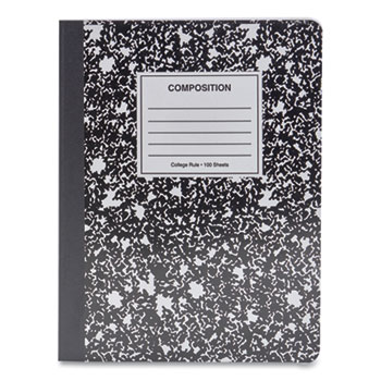 Composition Book, Medium/College Rule, Black Marble Cover, 9.75 x 7.5, 100 Sheets