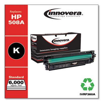 Innovera® Remanufactured Black Toner, Replacement for HP 508A (CF360A), 6,000 Page-Yield