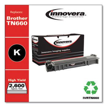 Remanufactured Black High-Yield Toner Cartridge, Replacement for Brother TN660, 2,600 Page-Yield