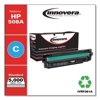 Innovera® Remanufactured Cyan Toner, Replacement for HP 508A (CF361A), 5,000 Page-Yield