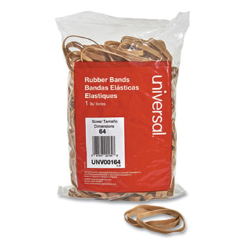 """Universal® Rubber Bands, Size 64, 0.04"""" Gauge, Beige, 1 lb Bag, 320/Pack"""