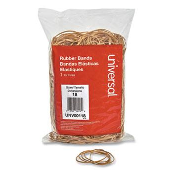 "Universal® Rubber Bands, Size 18, 0.04"" Gauge, Beige, 1 lb Box, 1,600/Pack"