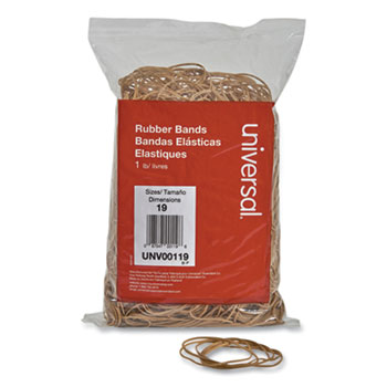 "Rubber Bands, Size 19, 0.04"" Gauge, Beige, 1 lb Bag, 1,240/Pack"