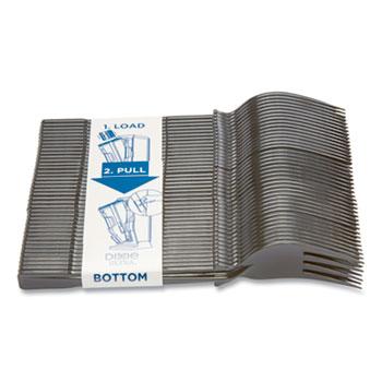 "SmartStock Plastic Cutlery Refill, Forks, 6.45"", Series-T Mediumweight, Black, 40/Cartidge, 24 Cartridges/Carton"