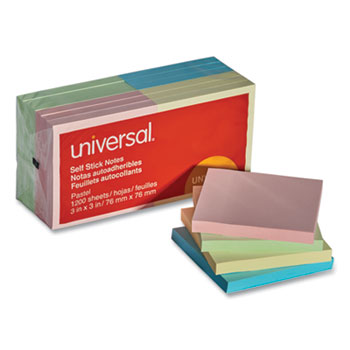 Universal Self-Stick Note Pads, 3 x 3, Assorted Pastel Colors, 100-Sheet, 12/Pack
