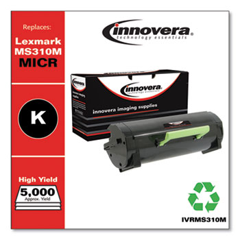 Innovera® Remanufactured Black High-Yield MICR Toner, Replacement for Lexmark MS310M (50F0HA0), 5,000 Page-Yield