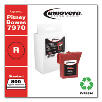Innovera® Compatible Red Postage Meter Ink, Replacement for Pitney Bowes 797-0 (7970), 800 Page-Yield