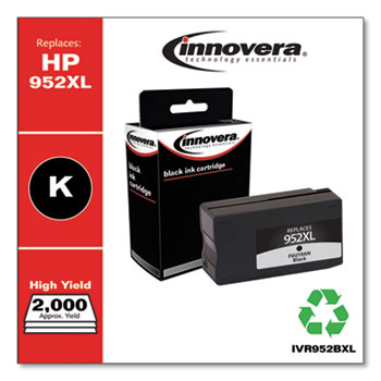 Innovera® Remanufactured Black High-Yield Ink, Replacement for HP 952XL (F6U19AN), 2,000 Page-Yield