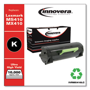 Innovera® Remanufactured Black Ultra High-Yield Toner, Replacement for Lexmark MS410/MX410, 10,000 Page-Yield