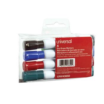 Universal Dry Erase Marker, Broad Chisel Tip, Assorted Colors, 4/Set