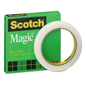 """Scotch™ Magic Office Tape, 1/2"""" x 72 yards, 3"""" Core, Clear"""