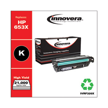 Remanufactured Black High-Yield Toner Cartridge, Replacement for HP 653X (CF320X), 21,000 Page-Yield