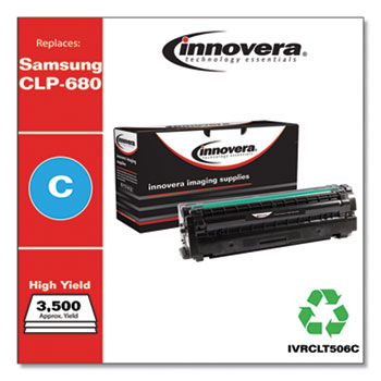 Innovera® Remanufactured Cyan High-Yield Toner, Replacement for Samsung CLT-506 (CLT-C506L), 3,500 Page-Yield