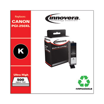 Innovera® Remanufactured Black High-Yield Ink, Replacement for Canon PGI-250XL (6432B001), 500 Page-Yield