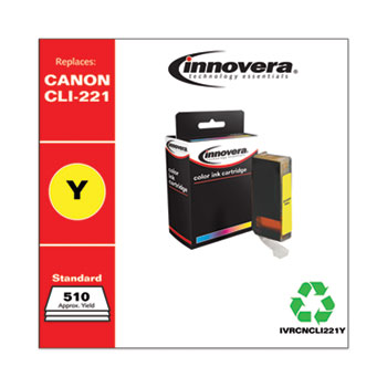 Innovera® Remanufactured Yellow Ink, Replacement for Canon CLI-221Y (2949B001), 510 Page-Yield