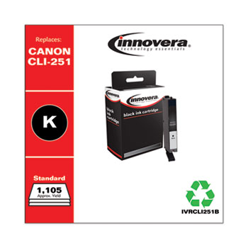 Remanufactured Black Ink, Replacement For Canon CLI-251 (6513B001), 1105 Page Yield