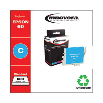 Innovera® Remanufactured Cyan Ink, Replacement for Epson 60 (T060220), 600 Page-Yield