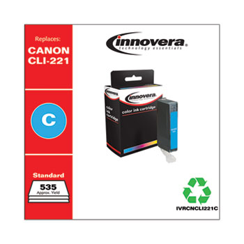 Remanufactured Cyan Ink, Replacement For Canon CLI-221C (2947B001), 535 Page Yield