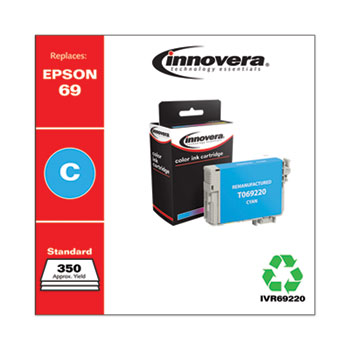 Innovera® Remanufactured Cyan Ink, Replacement for Epson 69 (T069220), 350 Page-Yield
