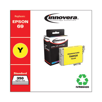 Remanufactured Yellow Ink, Replacement for Epson 69 (T069420), 350 Page-Yield