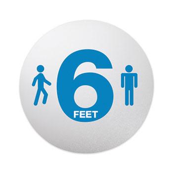 "deflecto® Personal Spacing Discs, 6 Feet Apart, 20"" dia, Clear/Medium Blue, 6/PK"