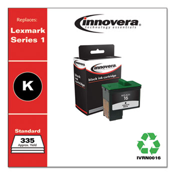 Innovera® Remanufactured Black Ink, Replacement for Lexmark 16 (10N0016), 335 Page-Yield