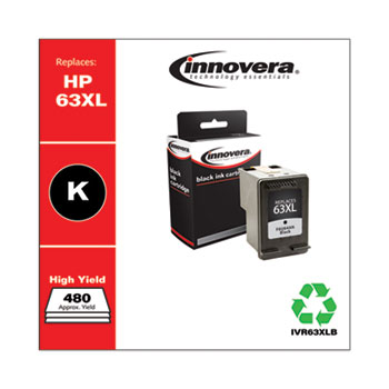 Innovera® Remanufactured Black High-Yield Ink, Replacement for HP 63XL (F6U64AN), 480 Page-Yield