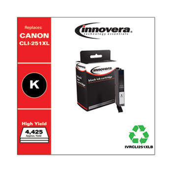 Remanufactured Black High-Yield Ink, Replacement for Canon CLI-251XL (6448B001), 4,425 Page-Yield