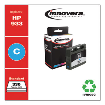Remanufactured Cyan Ink, Replacement for HP 933 (CN058A), 330 Page-Yield