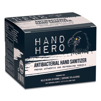 Hand Hero Antibacterial Hand Sanitizer Sachet, 0.07 oz, 50/Box