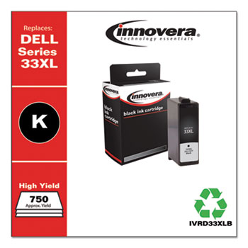Remanufactured Black Ink, Replacement For Dell 33XL (T9FKK331-7377), 750 Page Yield