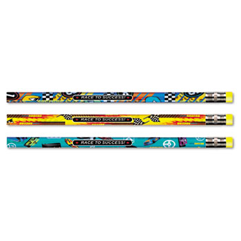 Moon Products Decorated Pencil, Race to Success!, HB, 2.1 mm, Assorted, Black, Dozen