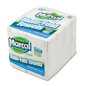Marcal® Embossed Paper Towels, Multifold, White, 250/Pack