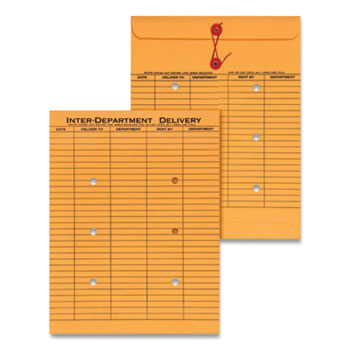 Universal® String and Button Interoffice Envelope, #97, Two-Sided Five-Column Format, 10 x 13, Light Brown Kraft, 100/Box