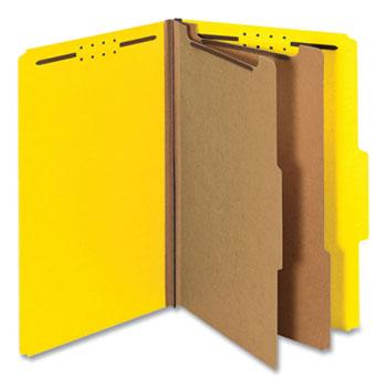 Universal Bright Colored Pressboard Classification Folders, 2 Dividers, Legal Size, Yellow, 10/Box