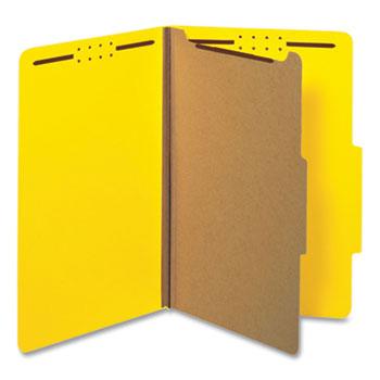 Universal Bright Colored Pressboard Classification Folders, 1 Divider, Legal Size, Yellow, 10/Box