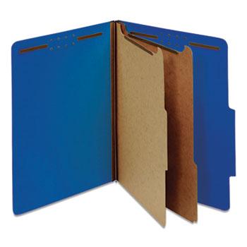 Universal® Bright Colored Pressboard Classification Folders, 2 Dividers, Letter Size, Cobalt Blue Cover, 10/Box