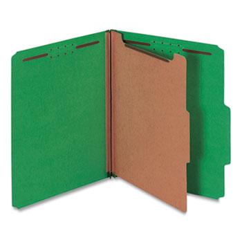 Universal® Bright Colored Pressboard Classification Folders, 1 Divider, Letter Size, Emerald Green, 10/Box