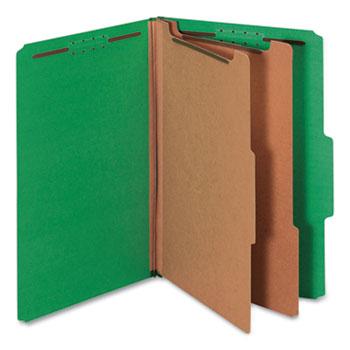 Universal Bright Colored Pressboard Classification Folders, 2 Dividers, Legal Size, Emerald Green, 10/Box
