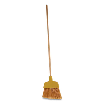 "Boardwalk® Angler Broom, Plastic Bristles, 53"" Wood Handle, Yellow"