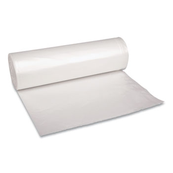 """Boardwalk® Low Density Repro Can Liners, 60 gal, 1.4 mil, 38"""" x 58"""", Clear, 10 Bags/Roll, 10 Rolls/Carton"""