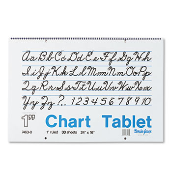Pacon® Chart Tablets w/Cursive Cover, Ruled, 24 x 16, White, 30 Sheets