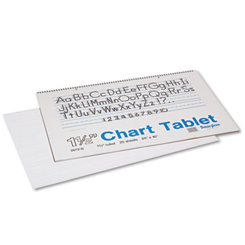 Pacon® Chart Tablets w/Manuscript Cover, Ruled, 24 x 16, White, 25 Sheets