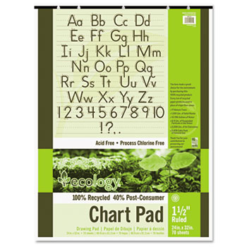 Pacon® S.A.V.E Recycled Chart Pads, 1-1/2in Ruled, 24 x 32, White, 70 Sheets