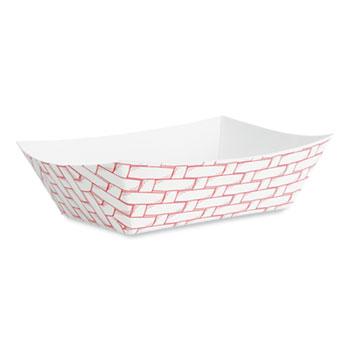 Boardwalk® Paper Food Baskets, 3 lb Capacity, Red/White, 500/Carton