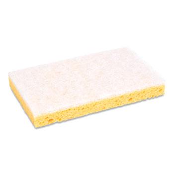 "Boardwalk® Scrubbing Sponge, Light Duty, 3.6 x 6.1, 0.7"" Thick, Yellow/White, Individually Wrapped, 20/Carton"