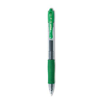 Pilot® G2 Premium Retractable Gel Ink Pen, Refillable, Green Ink, .7mm, Dozen