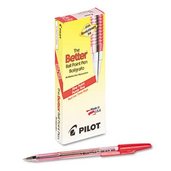 Pilot® Better Ball Point Stick Pen, Red Ink, .7mm, Dozen