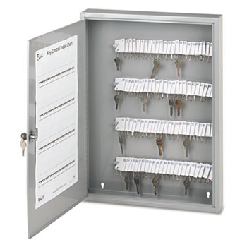 SecurIT® Locking Key Cabinet, 100-Key, Steel, Gray, 16 1/2 x 3 x 22 1/2