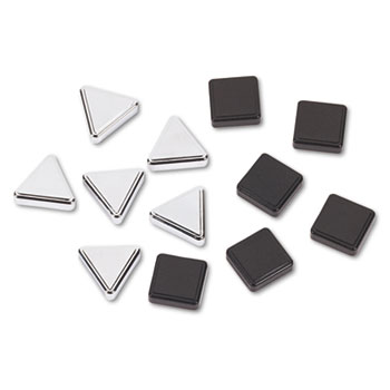 Metallic Magnets, Black; Silver, 12/Pack